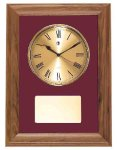 American Walnut Framed Wall Clock with Gold Face & Maroon Velour Achievement Awards