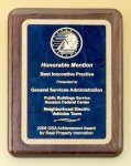Walnut Stained Piano Finish Plaque with Brass Plate Employee Awards